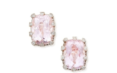 Pair of Kunzite and Diamond Earclips, Tony Duquette