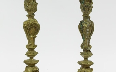 Pair of ca 1900 French Gilt Brass Candlesticks