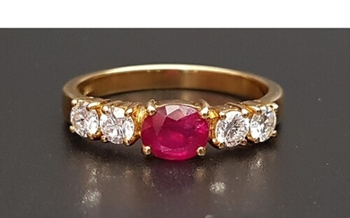 RUBY AND DIAMOND FIVE STONE RING the central oval cut treate...