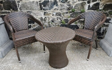 Rattan garden table {56 cm H x 60 cm Dia.} and two matching ...