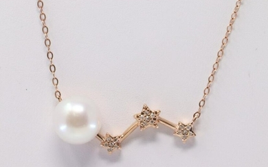 Rose Gold Pearl Diamond Necklace.