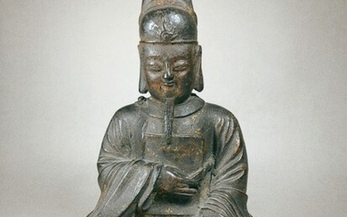 Sculpture - Bronze - Gilt Lacquered Mythical Hero - China - Ming Dynasty (1368-1644)