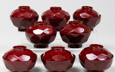 Set of Eight Japanese Lacquer Teabowls and Covers