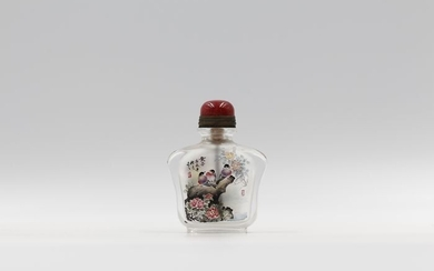 Snuff bottle - Glass - Flowers and Birds - By Lin Qing - China - 21st century