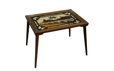 TAXIDERMY/ ENTOMOLOGY: BUTTERFLY WINGS TABLE, EARLY-MID 20TH CENTURY