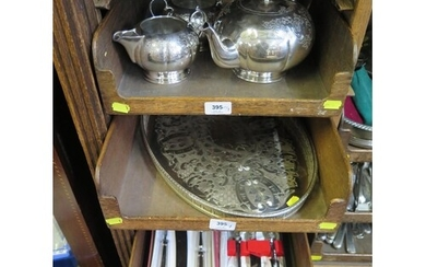 Three trays of silver plate comprising a three piece tea set...