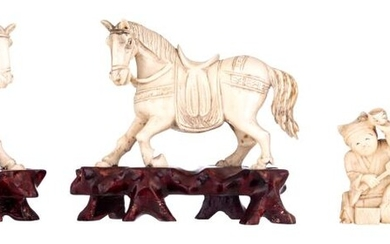 Two Chinese late 19th - early 20thC ivory horses, W 10 - 10,1 cm / weight c. 105 - 110; added three first quarter 20thC netsuke, 5,1 - 5,3 - 5,7 cm / weight c. 20 - 22 - 35 g.