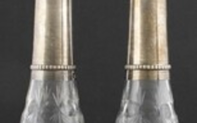 Two silver mounted cristal bottles with stoppers, France, first quarter...