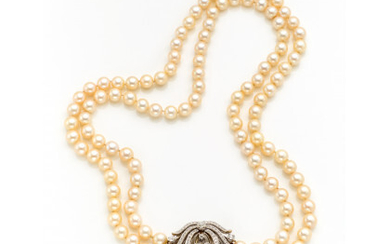 Two strand cultured pearl necklace of mm 9/9.50 circa with white gold diamond clasp adaptable as brooch, diamonds in all…Read more