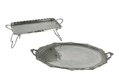 Victorian Silver Plated Serving Platter and Tray