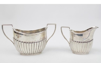 Victorian Silver matching Sugar bowl and Cream jug of fluted...