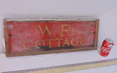 """Wood painted sign, """"WR Cottage"""", red with gold"""