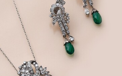 18 kt gold jewelry set with diamonds and...