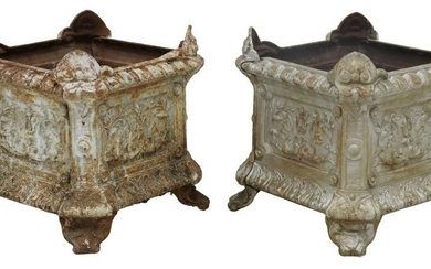 (2) FRENCH CAST IRON PLANTER BOXES JARDINIERES