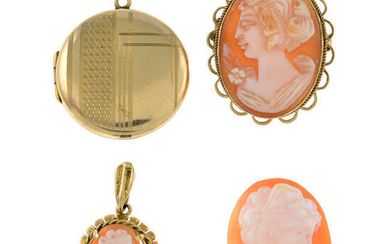 A 9ct gold cameo pendant, a cameo brooch, a loose cameo and a locket.