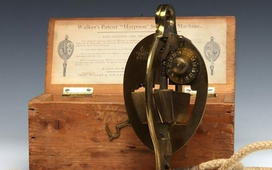 A BOXED 19TH C. WALKER'S PATENT HARPOON SOUNDING DEVICE