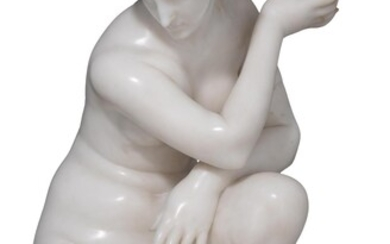 A Carrara marble figure of the crouching Aphrodite, possibly 19thC, H 66,5 cm