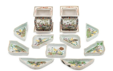 A Chinese Famille Rose Porcelain Sweet Meat Set and A
