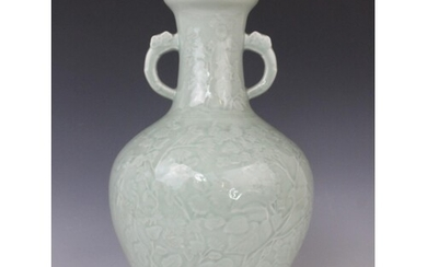 A Chinese Longquan celadon glazed vase, 20th century, the ar...