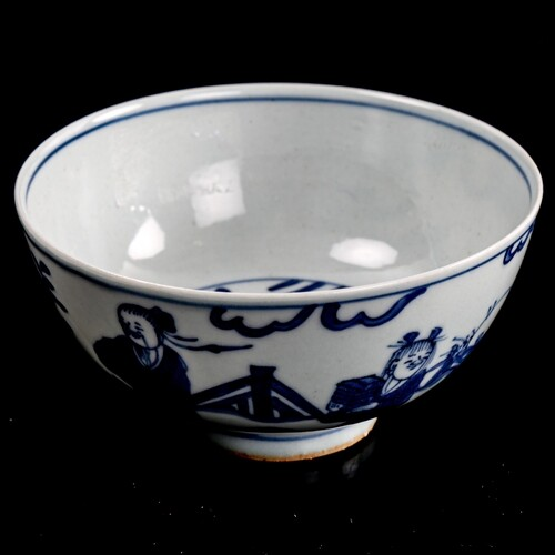 A Chinese blue and white porcelain rice bowl, 6 character ma...