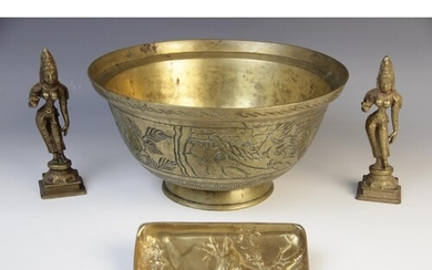 A Chinese bronze bowl, early 20th century, externally decora...