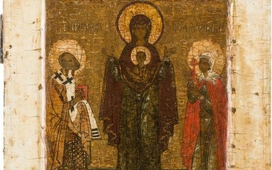 A FINE ICON SHOWING THE MOTHER OF GOF OF THE SIGN