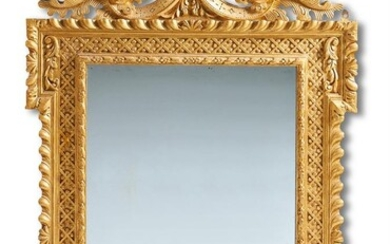 A GILTWOOD WALL MIRROR IN MID 18TH CENTURY STYLE, LATE 19TH/EARLY 20TH CENTURY