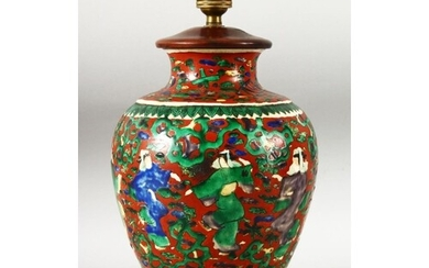 A JAPANESE KUTANI PORCELAIN LAMP VASE, with fitted wooden ba...