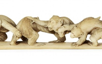 A Japanese ivory okimono of a group of monkeys, 19th century, carved as an interconnected line of seven monkeys grasping on to one another, signed Takeichi to base, 14cm