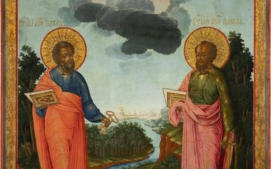 A LARGE ICON SHOWING THE APOSTLES PETER AND PAUL
