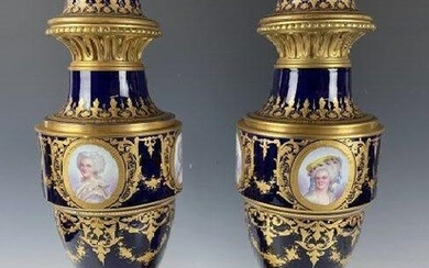 A LARGE PAIR OF 19TH C. ORMOLU MOUNTED SEVRES VASES