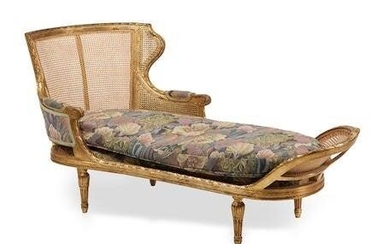 A LOUIS XVI STYLE GILTWOOD CHAISE LONGUE