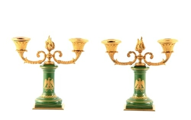 A PAIR OF 19TH CENTURY FRENCH NAPOLEON PORCELAIN AND ORMOLU ...