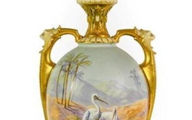 A Royal Worcester Porcelain Vase and Cover, by Walter Powell,...