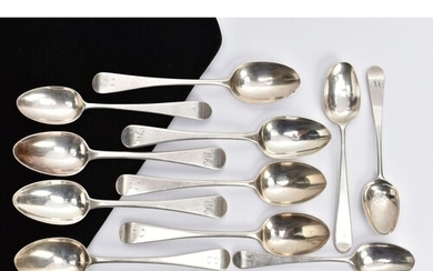 A SELECTION OF SILVER TEASPOONS, to include a set of four ol...