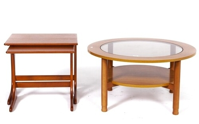 A Schreiber teak coffee table, c1970's, with inset glass cen...