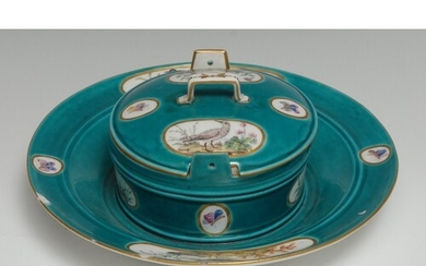 A Sèvres circular ornithological butter dish and cover (beur...
