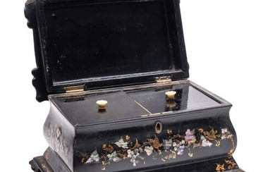 A Victorian papier-mache and mother-of-pearl inlaid tea cadd...