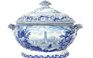 A blue and white potter semi-china tureen and cover