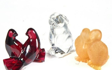 A group of art glass animals
