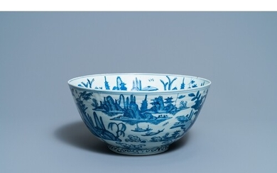 A large Chinese blue and white 'river landscape' bowl, MingD...