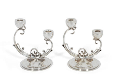 A pair of Danish silver two-light candelabra