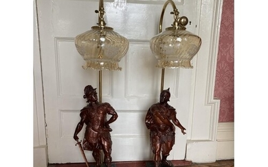 A pair of bronzed Spelter Table Lamps, each modelled as a Ro...