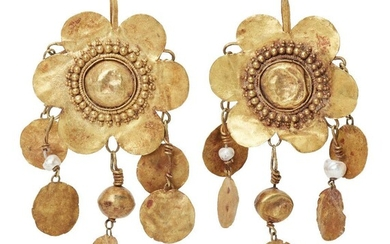 A pair of seed pearl and gold flower pendant earrings in the ancient style, 6.9cm. long, 12 grams (2) Provenance: Private Collection Oliver Hoare (1945-2018); Piasa Auction House 17 December 2002