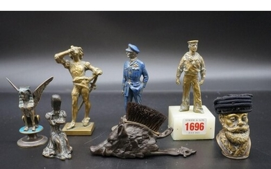 A small group of bronze and other similar figures, to includ...