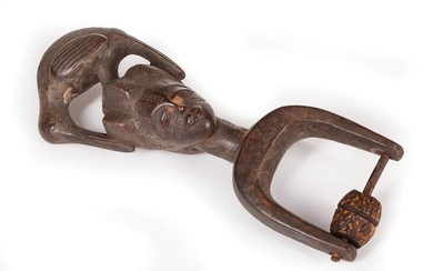 African Carved Wood Heddle Pulley