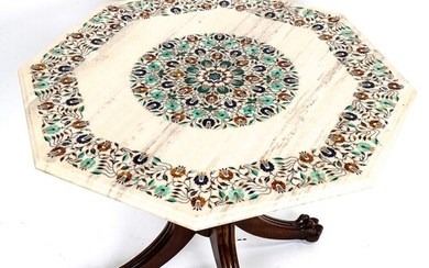 An Indian octagonal marble-topped centre table, with inlaid ...