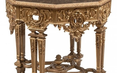 An Italian Baroque-Style Carved Giltwood Octagon