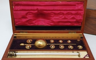 An early 20th century hydrometer, in a mahogany and ivory in...
