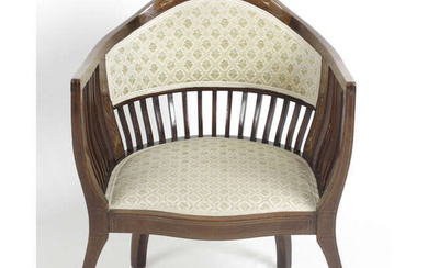 An early 20th century ivory and satinwood inlaid framed chair.